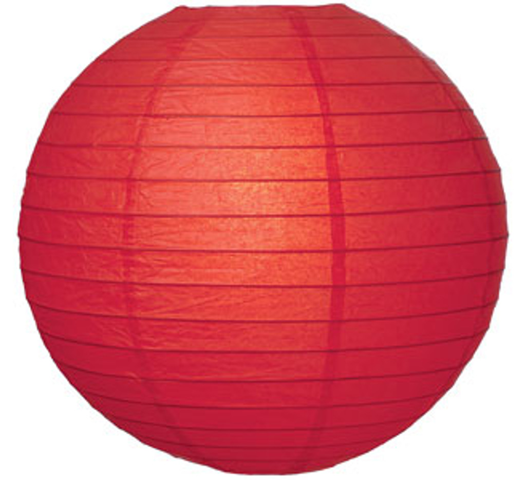 Parallel Ribbed Red 12-Inch Round Paper Lantern