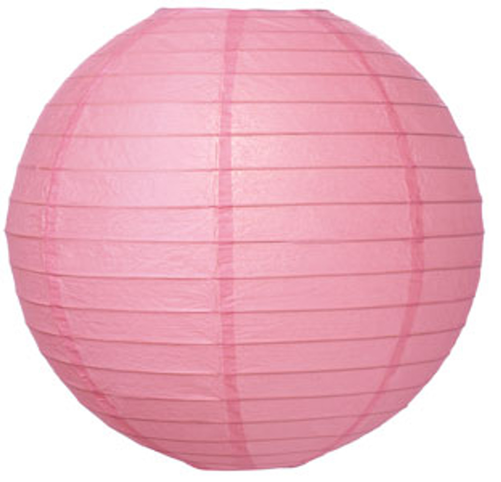 Parallel Ribbed Pink 16-Inch Round Paper Lantern