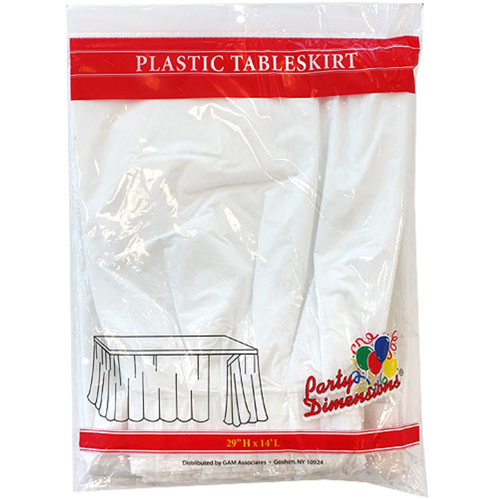 Plastic Table Skirts White