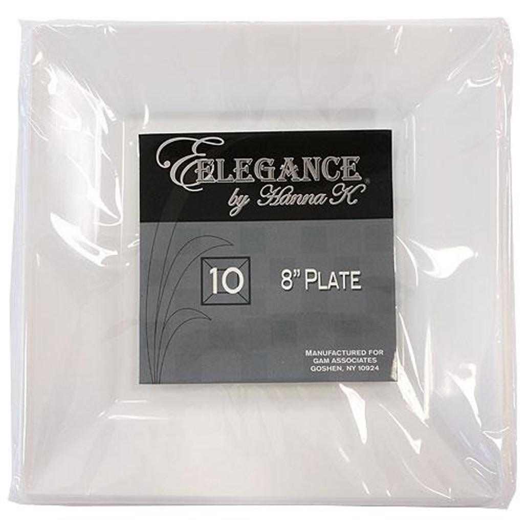 Plastic Squares 8-inch White Plates - 10ct.