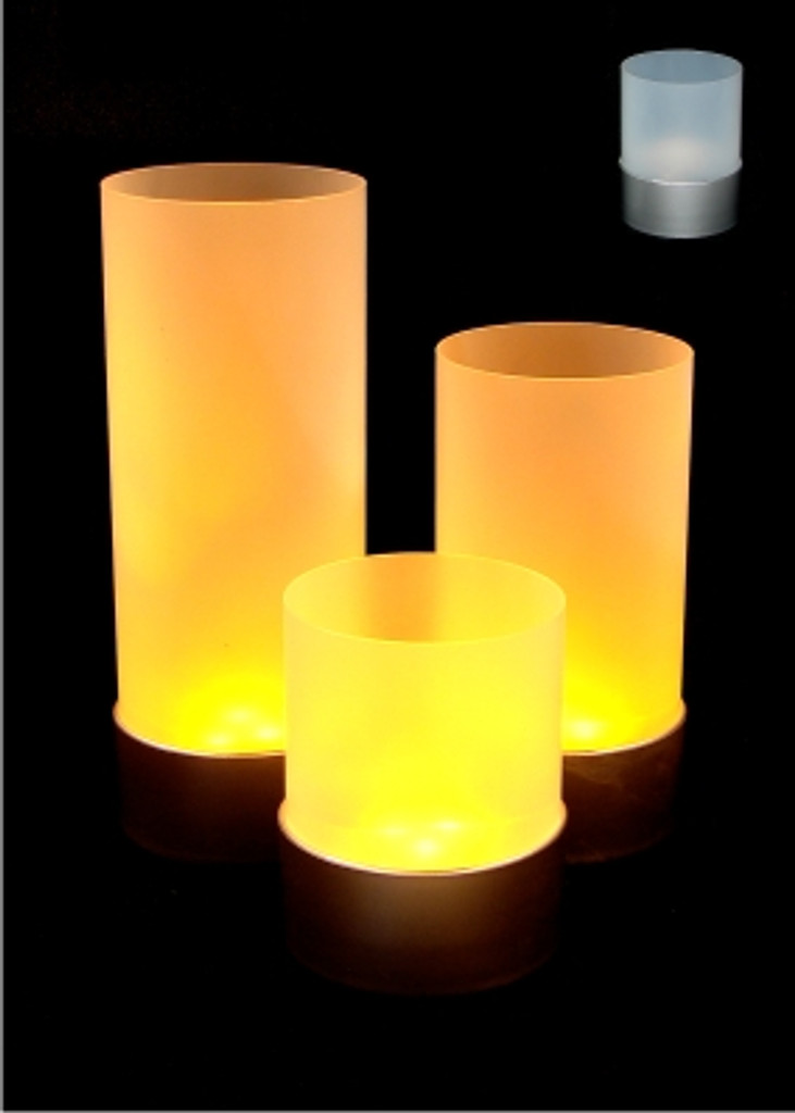 Battery Operated Votive Candle in Frosted Holder - Choose a Size