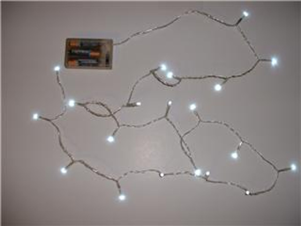 Battery Operated 20 LED Lite Set 65 inch Transparent Wire - White LED Lights