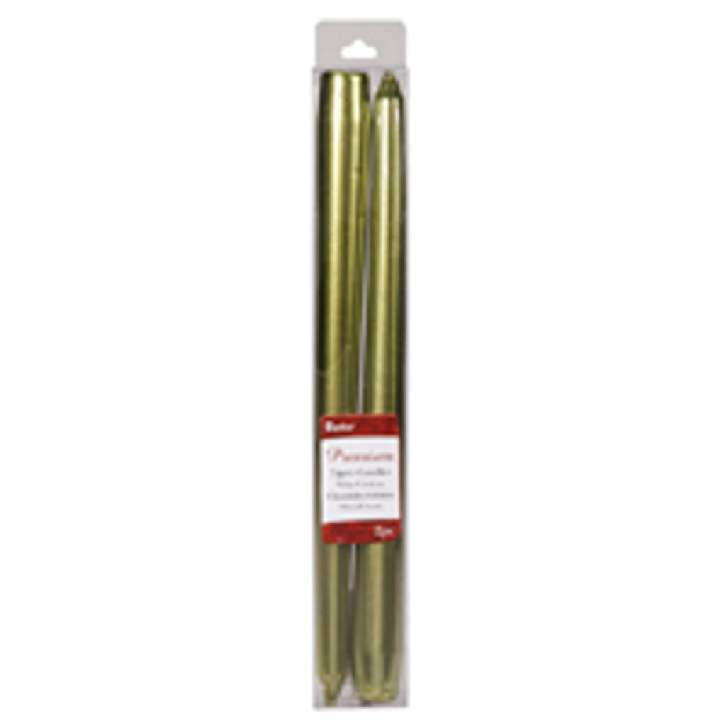 10 Inch Metallic Taper Candle Green 2 pcs Pk