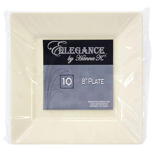 Plastic Squares 8-inch Cream Plates - 10ct.