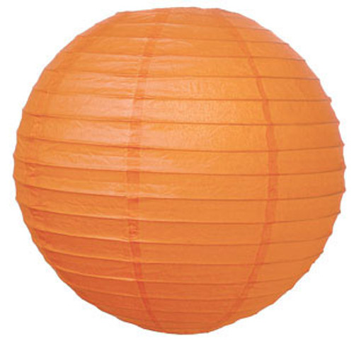 Parallel Ribbed Mango 12-Inch Round Paper Lantern