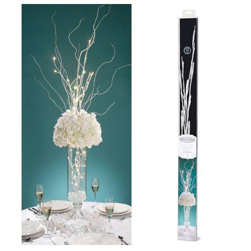 31.5 inch White Branch with 20 White LED Lights - Battery Operated