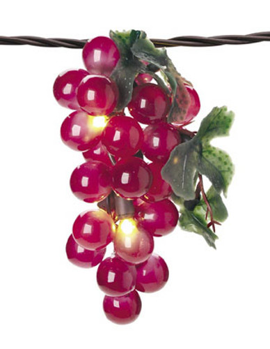 5 Lighted Grape Cluster String Lights, Indoor-Outdoor, 35 Lights, Plug-in, RED