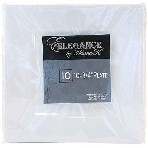 "Plastic Squares 10 3/4"" Inch White Plates - 10 Ct."