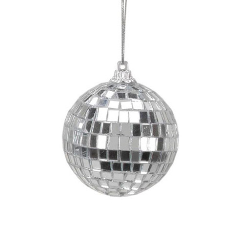Ornaments - Mirror Ball - Silver - 2.25 inches - 6 piec
