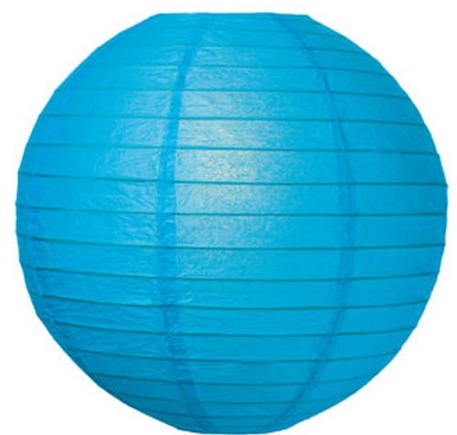 Parallel Ribbed Turquoise 12-Inch Round Paper Lantern