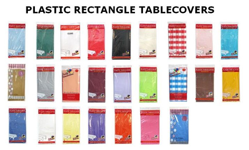 "Plastic Rectangular TableCovers 54"" x 108"" - 24 colors"