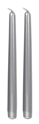 10 inch metallic taper candle silver