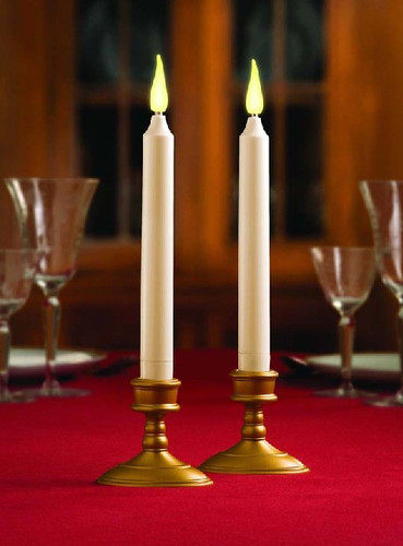 2 Pack Classic 9-Inch Taper Candles with Holders