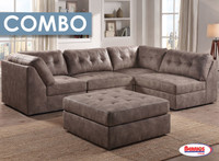 Combo 8 Pcs. | Pecan Odele Sectional Living Room