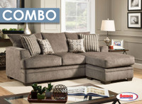 Combo 7 Pcs. | 72246 Pewter Doris Sofa Chaise