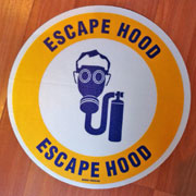 Custom escape hood sign with graphics.