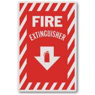 "Fire extinguisher sign w/ striping, plastic, 8""w x 12""h plastic"