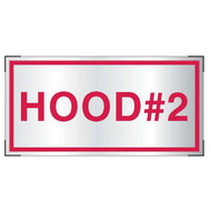 Aluminum Hood #2 sign for cooking system fire control systems