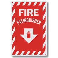 "Fire extinguisher sign w/ striping, aluminum, 8""w x 12""h aluminum"