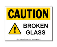 Caution Broken Glass Label w/ Icon