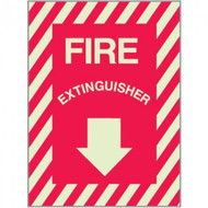 "Photoluminescent fire extinguisher sign w/ striping, aluminum, 9""w x 12""h aluminum"