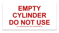 Magnetic Sign - Empty Cylinder Do Not Use