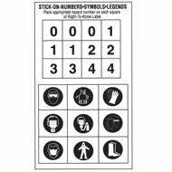 Number/Symbol Stickers for Right to Know Labels, 25 Sheets/Pkg