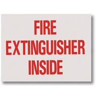 "Fire Extinguisher Inside self-adhesive label, red lettering, 4""w x 3""h vinyl"