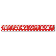 "Fire Extinguisher Inside self-adhesive label, wide, 18""w x 2""h vinyl"