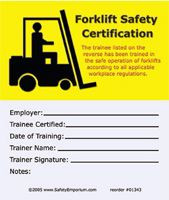 Marvelous ... Forklift Training Certification Cards, 50/Pkg. Image 1