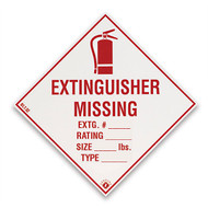 "Extinguisher Missing self-adhesive label w/ icon, 4""w x 4""h vinyl"