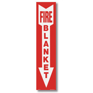 "Fire Blanket sign with arrow, 4""w x 18""h vinyl"