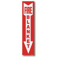 "Fire Blanket sign with arrow, 4""w x 18""h vinyl"