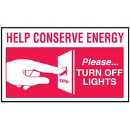 Mini Instructional Label - Help Conserve Energy Please Turn Off Lights