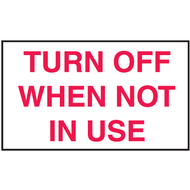 Mini Instructional Label - Turn Off When Not In Use, 10/Pkg