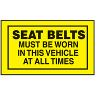 Mini Instructional Label - Seat Belts Must Be Worn In This Vehicle At All Times, 10/Pkg