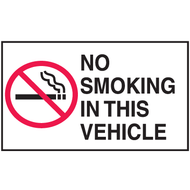 Mini Instructional Label - No Smoking In This Vehicle w/ Cigarette Graphic, 10/Pkg