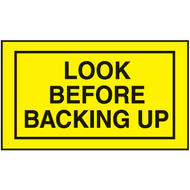 Mini Instructional Label - Look Before Backing Up, 10/Pkg