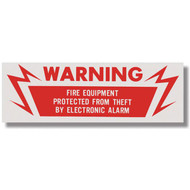 "Electronic alarm warning sign for fire equipment, 6""w x 2""h vinyl"