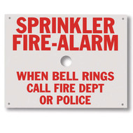 "Sprinkler Fire Alarm aluminum sign, 7.75""w x 6""h"