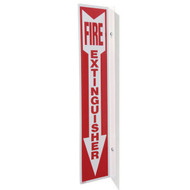 "Fire Extinguisher 90° rigid plastic wall sign, 2-sided, 4""w x 18""h"