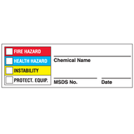 Right To Know Chemical Name Labels w/ MSDS # entry, 25/Pkg