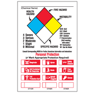 NFPA Labels, Annotated w/ Personal Protection Checkboxes, 25/Pkg
