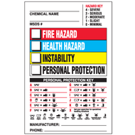 Right To Know Labels w/ Hazard and Personal Protection Keys, 25/Pkg