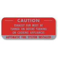 "Aluminum caution sign for cooking system fire control systems, 5""w x 2""h"