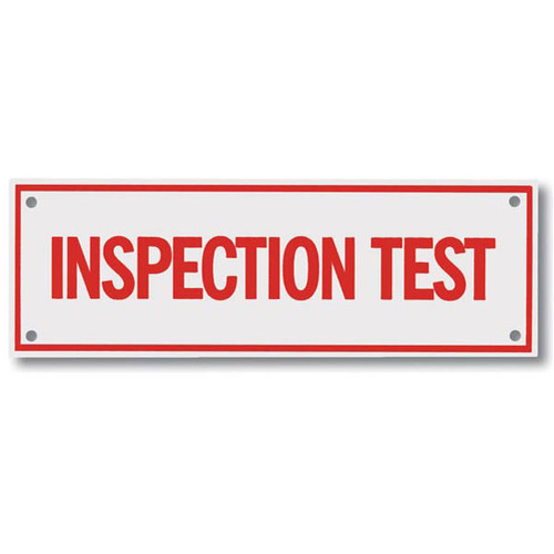 Inspection test aluminum sprinkler identification sign