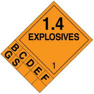 DOT 1.4 Explosives Placard System w/ Numbers and Letters
