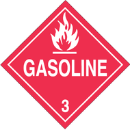 DOT Hazardous Material Placards, Class 3, Gasoline