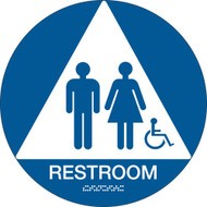 California ADA RESTROOM Sign w/ Grade 2 Braille + Wheelchair, Blue
