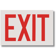 "Exit Signs, Red Lettering on White Background, Self-Adhesive, 12"" w x 8"" h"